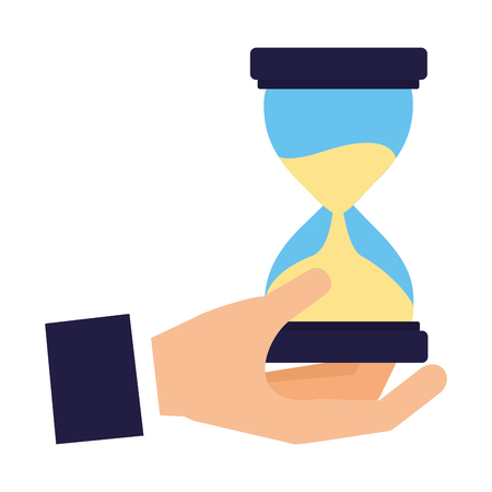 hand holding hourglass time business vector illustration