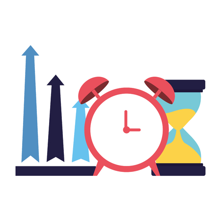 business alarm clock hourglass and arrows up vector illustration