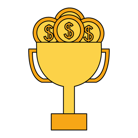 business trophy dollar coins money vector illustration  イラスト・ベクター素材