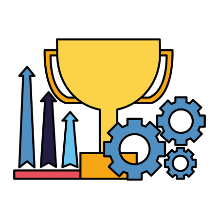business trophy growth arrows and gears vector illustration Illustration