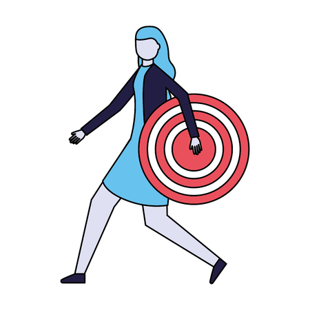 business woman holding target strategy vector illustration Stok Fotoğraf - 114666923