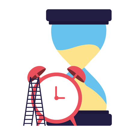 business hourglass clock and stairs vector illustration