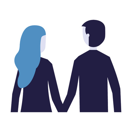 man and woman holding hands back view vector illustration Çizim