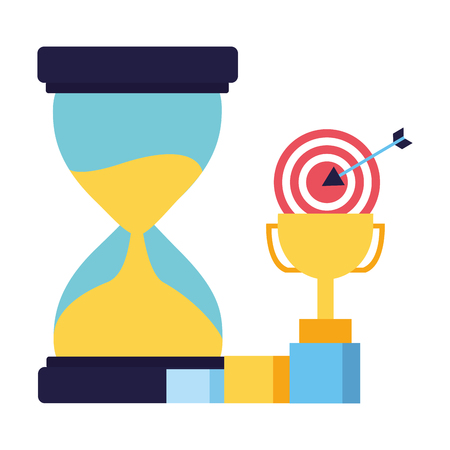 business trophy hourglass target and chart vector illustration