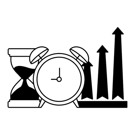 business alarm clock hourglass and arrows up vector illustration monochrome
