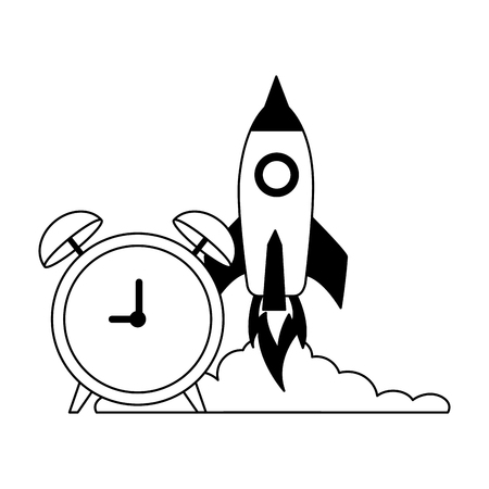business launching rocket and alarm clock vector illustration monochrome Stok Fotoğraf - 126464676