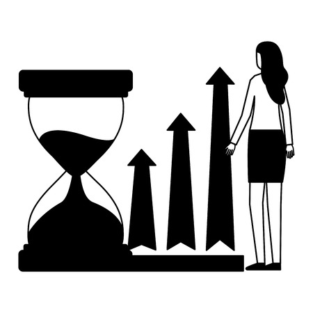 business woman with hourglass and arrows vector illustration monochrome