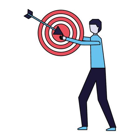 businessman holding target and arrow vector illustration Illustration