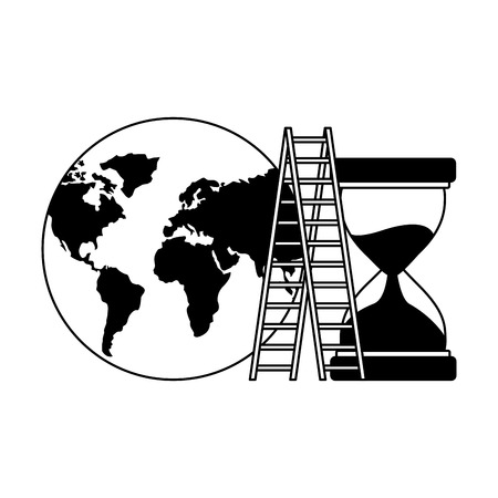 business world stairs and hourglass vector illustration monochrome