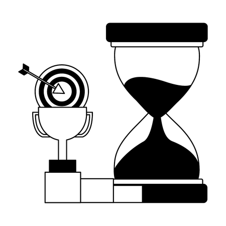 business trophy hourglass target and chart vector illustration monochrome Stock Illustratie