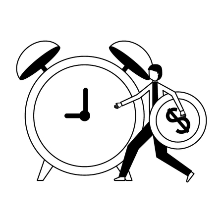 businessman holding coin dollar and alarm clock vector illustration monochrome