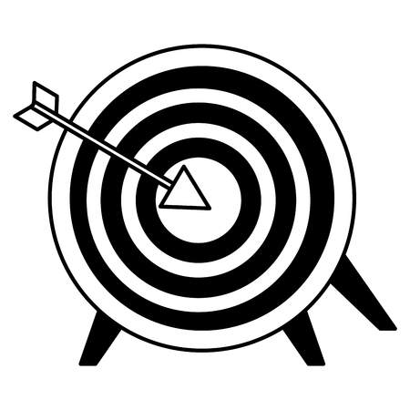target and arrow on white background vector illustration monochrome
