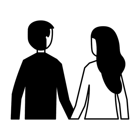 man and woman holding hands back view vector illustration monochrome