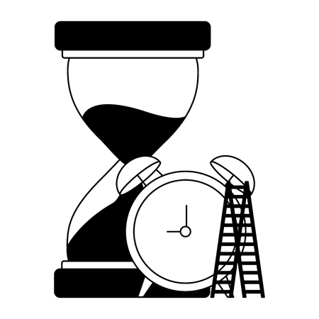 business hourglass clock and stairs vector illustration monochrome