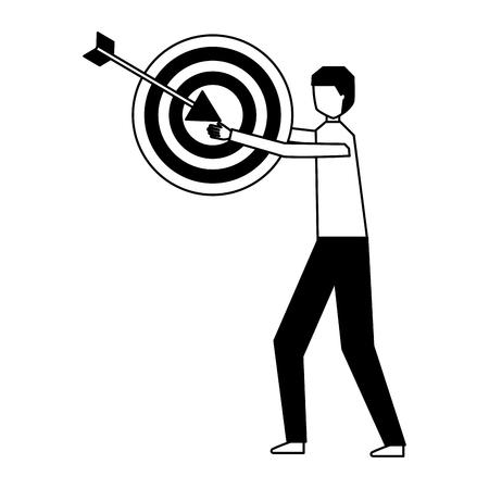 businessman holding target and arrow vector illustration monochrome Illustration