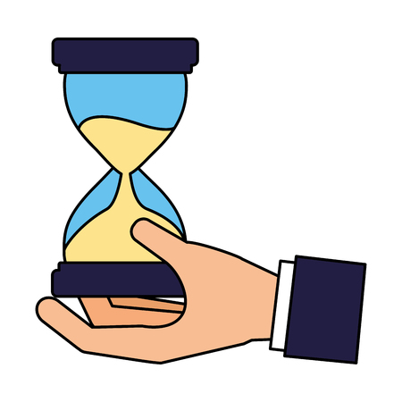 hand holding hourglass time business vector illustration Standard-Bild - 126464693