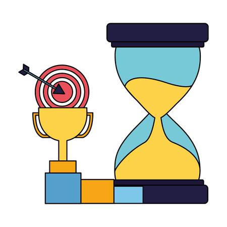 business trophy hourglass target and chart vector illustration Stockfoto - 126464696