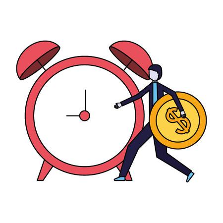 businessman holding coin dollar and alarm clock vector illustration