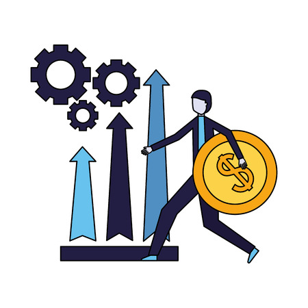 businessman holding coin arrows and gears vector illustration