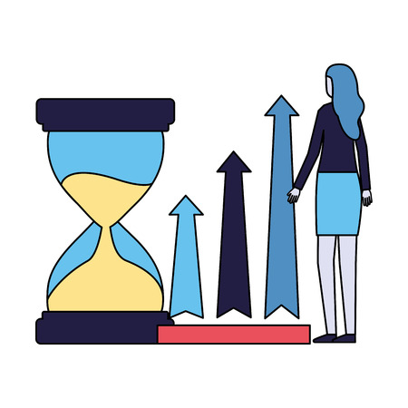 business woman with hourglass and arrows vector illustration Illusztráció