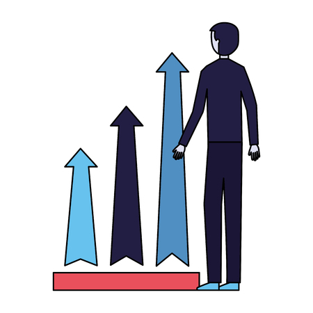 businessman chart arrows growth financial vector illustration