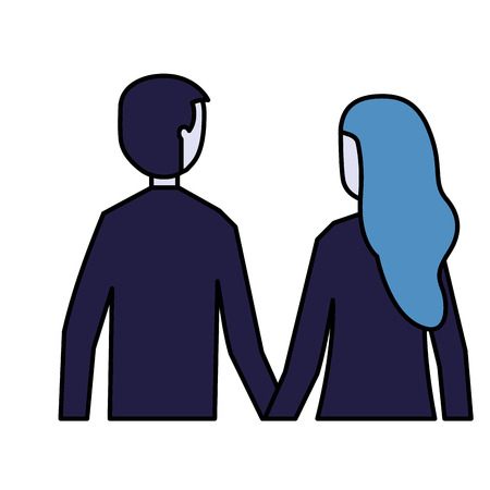 man and woman holding hands back view vector illustration Ilustrace