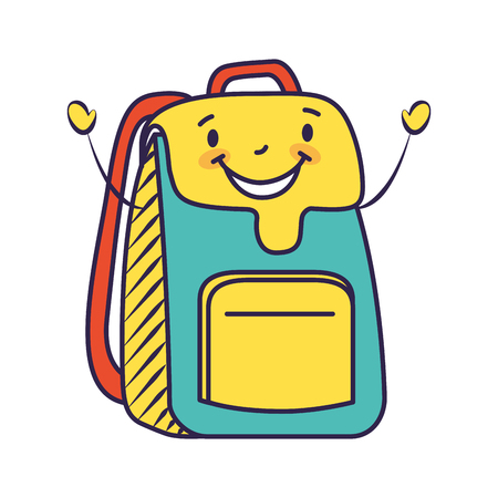 happy cartoon school backpack character vector illustration Stock Illustratie
