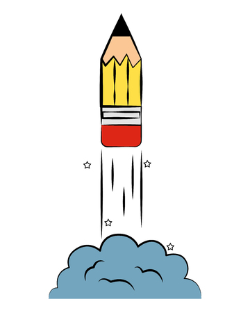 launching pencil rocket back to school vector illustration