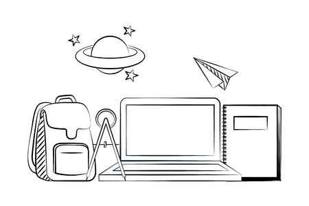 bag laptop book back to school sketch vector illustration