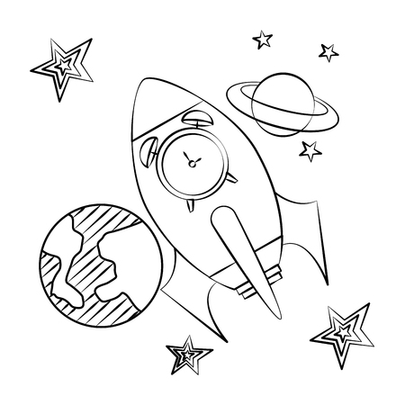 rocket clock planet sketch back to school vector illustration 일러스트