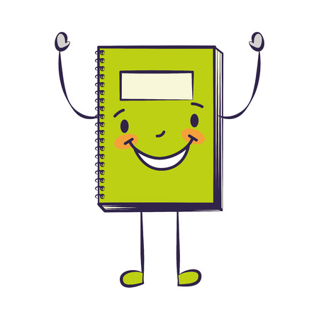 happy cartoon school notebook character vector illustration