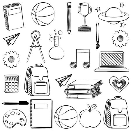 Libro, bola, brújula, lápiz, manzana, bolso, bosquejo, regreso a la escuela, vector, ilustración