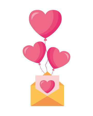 message letter balloons valentine day vector illustration