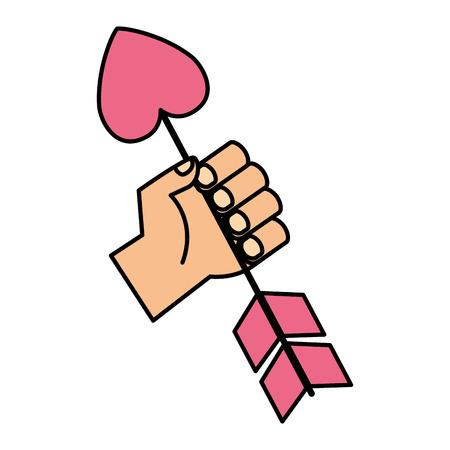 hand holding heart arrow valentine day vector illustration