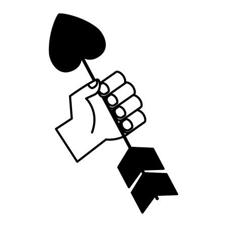hand holding heart arrow valentine day vector illustration monochrome Illustration
