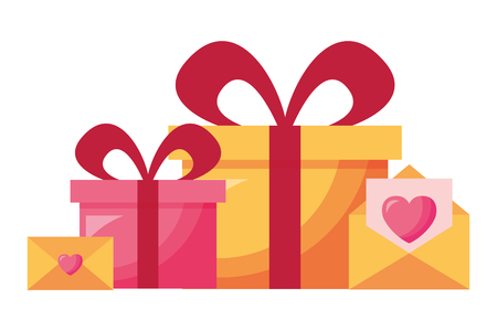 gift boxes messages hearts love valentine day vector illustration Illustration