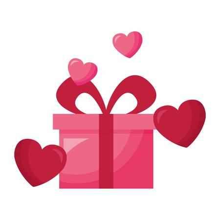 gift hearts love valentine day vector illustration