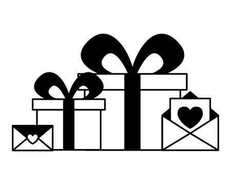 gift boxes messages hearts love valentine day vector illustration monochrome