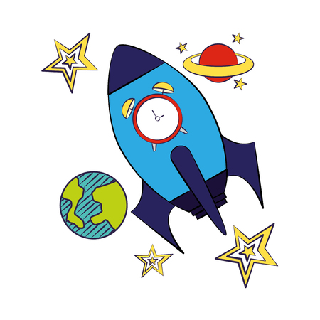 rocket clock planet back to school vector illustration