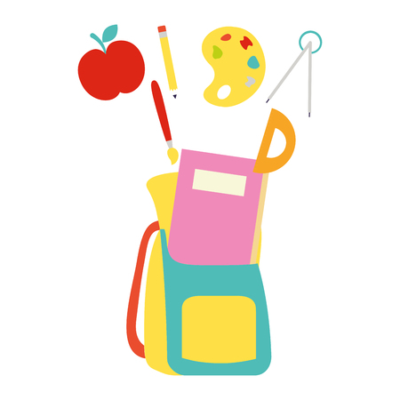 backpack book compass paint brush apple back to school vector illustration