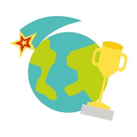 world trophy star back to school vector illustration