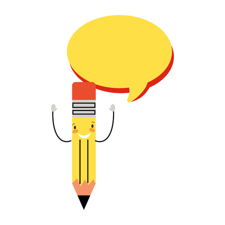 cartoon school pencil speech bubble vector illustration