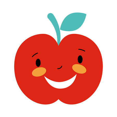 happy cartoon apple fruit character vector illustration Illustration