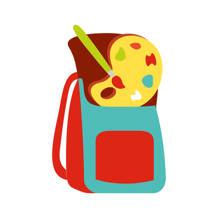 backpack artistic palette color back to school vector illustration Ilustração