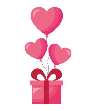 gift balloons hearts love valentine day vector illustration Ilustracja