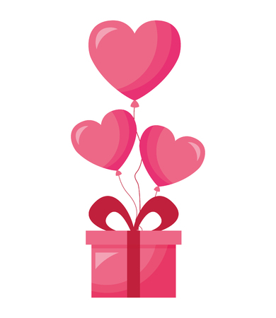 gift balloons hearts love valentine day vector illustration Zdjęcie Seryjne - 114650719