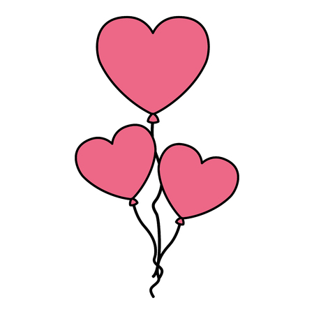 pink balloons hearts valentine day vector illustration Stock Vector - 126465483
