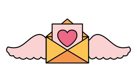 message letter wings valentine day vector illustration Foto de archivo - 126465484