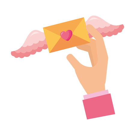 hand holding message with wings valentine day vector illustration Illustration