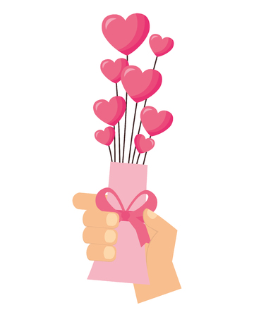 hand holding vase with hearts valentine day vector illustration